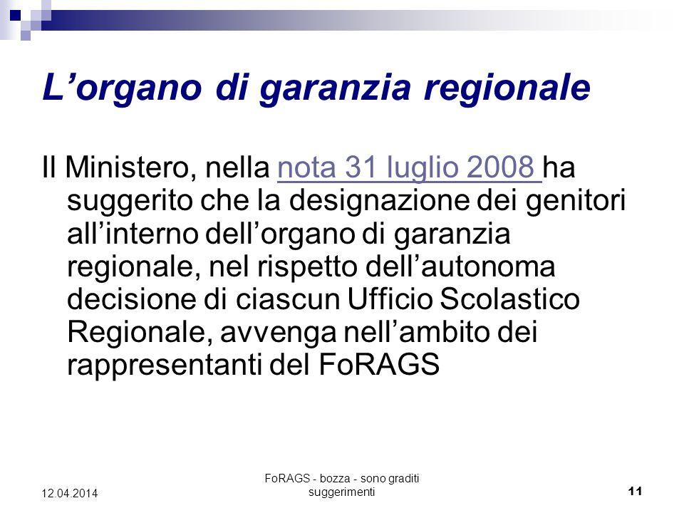 FoRAGS - bozza - sono graditi suggerimenti11 12.04.2014 L'organo di garanzia regionale Il Ministero, nella nota 31 luglio 2008 ha suggerito che la designazione dei genitori all'interno dell'organo di garanzia regionale, nel rispetto dell'autonoma decisione di ciascun Ufficio Scolastico Regionale, avvenga nell'ambito dei rappresentanti del FoRAGSnota 31 luglio 2008