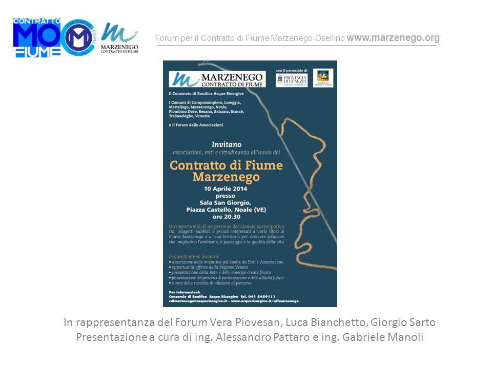 Forum per il Contratto di Fiume Marzenego-Osellino www.marzenego.org In rappresentanza del Forum Vera Piovesan, Luca Bianchetto, Giorgio Sarto Present