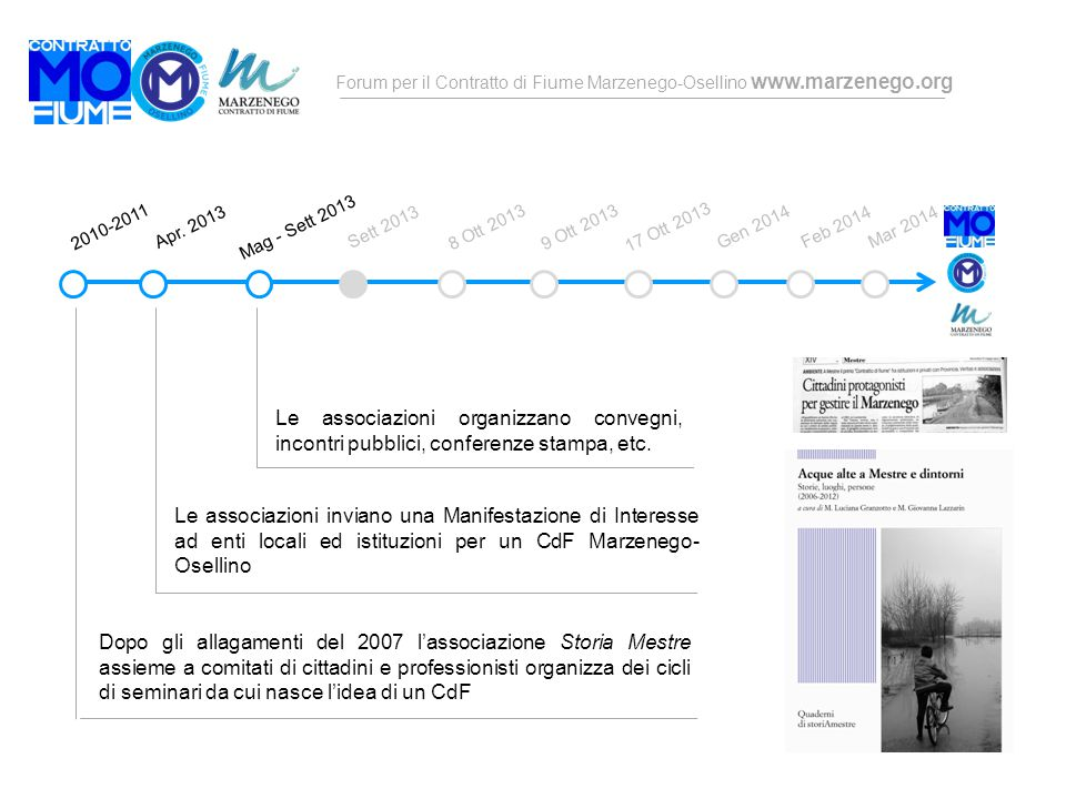 Forum per il Contratto di Fiume Marzenego-Osellino www.marzenego.org Dopo gli allagamenti del 2007 l'associazione Storia Mestre assieme a comitati di