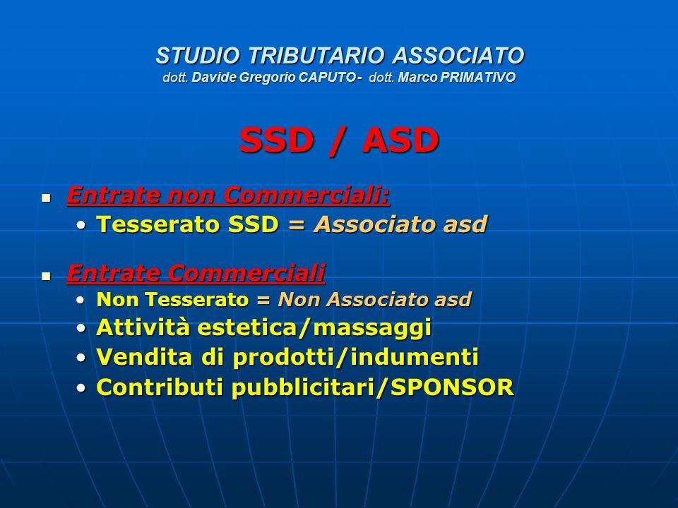 STUDIO TRIBUTARIO ASSOCIATO dott. Davide Gregorio CAPUTO - dott. Marco PRIMATIVO SSD / ASD Entrate non Commerciali: Entrate non Commerciali: Tesserato