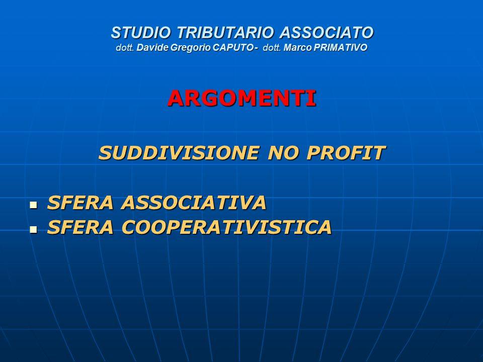 STUDIO TRIBUTARIO ASSOCIATO dott. Davide Gregorio CAPUTO - dott. Marco PRIMATIVO ARGOMENTI SUDDIVISIONE NO PROFIT SFERA ASSOCIATIVA SFERA ASSOCIATIVA