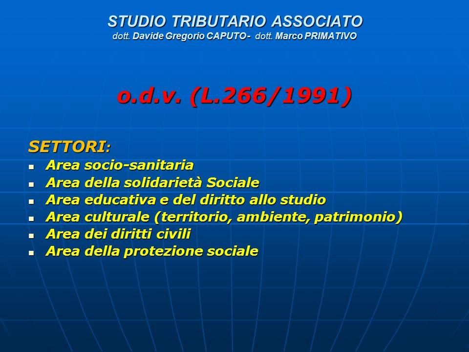 STUDIO TRIBUTARIO ASSOCIATO dott. Davide Gregorio CAPUTO - dott. Marco PRIMATIVO o.d.v. (L.266/1991) SETTORI : Area socio-sanitaria Area socio-sanitar