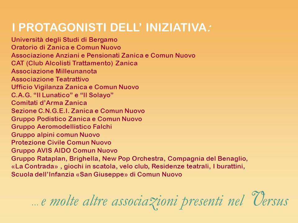 Università degli Studi di Bergamo Oratorio di Zanica e Comun Nuovo Associazione Anziani e Pensionati Zanica e Comun Nuovo CAT (Club Alcolisti Trattame