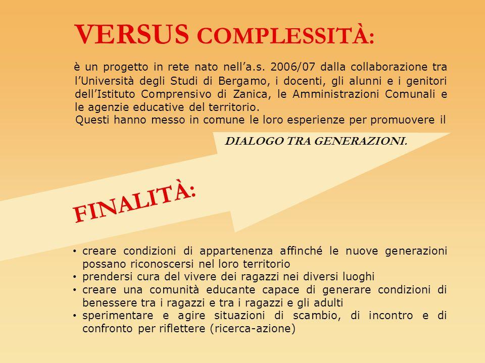 VERSUS COMPLESSITÀ: è un progetto in rete nato nell'a.s. 2006/07 dalla collaborazione tra l'Università degli Studi di Bergamo, i docenti, gli alunni e