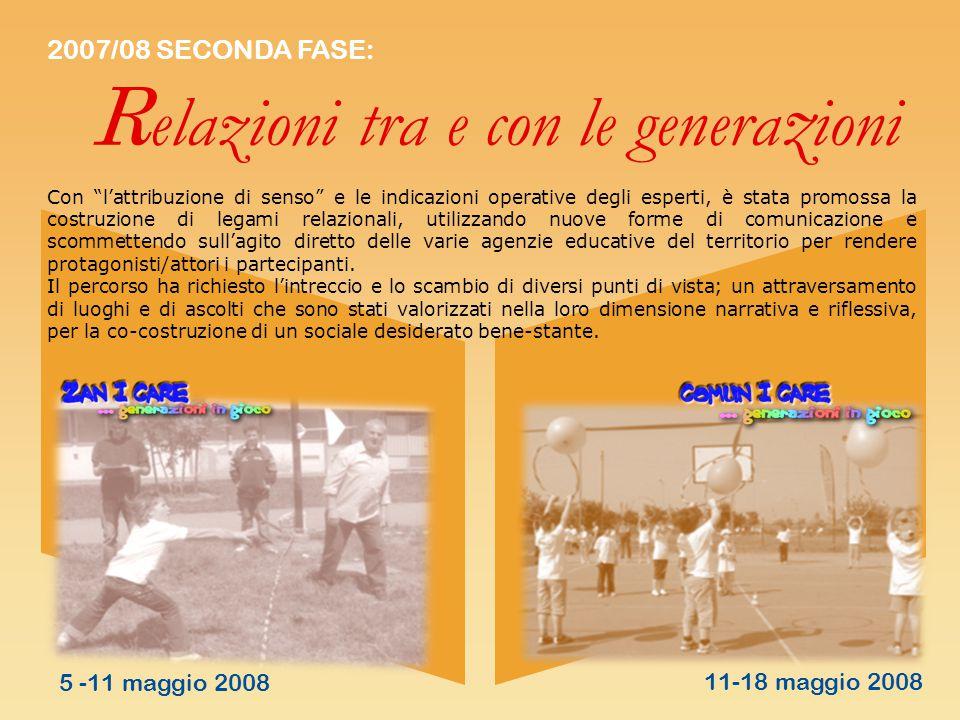 """2007/08 SECONDA FASE: R elazioni tra e con le genera z ioni Con """"l'attribuzione di senso"""" e le indicazioni operative degli esperti, è stata promossa l"""