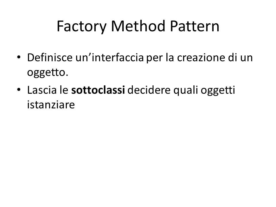 Factory Method Pattern Definisce un'interfaccia per la creazione di un oggetto. Lascia le sottoclassi decidere quali oggetti istanziare