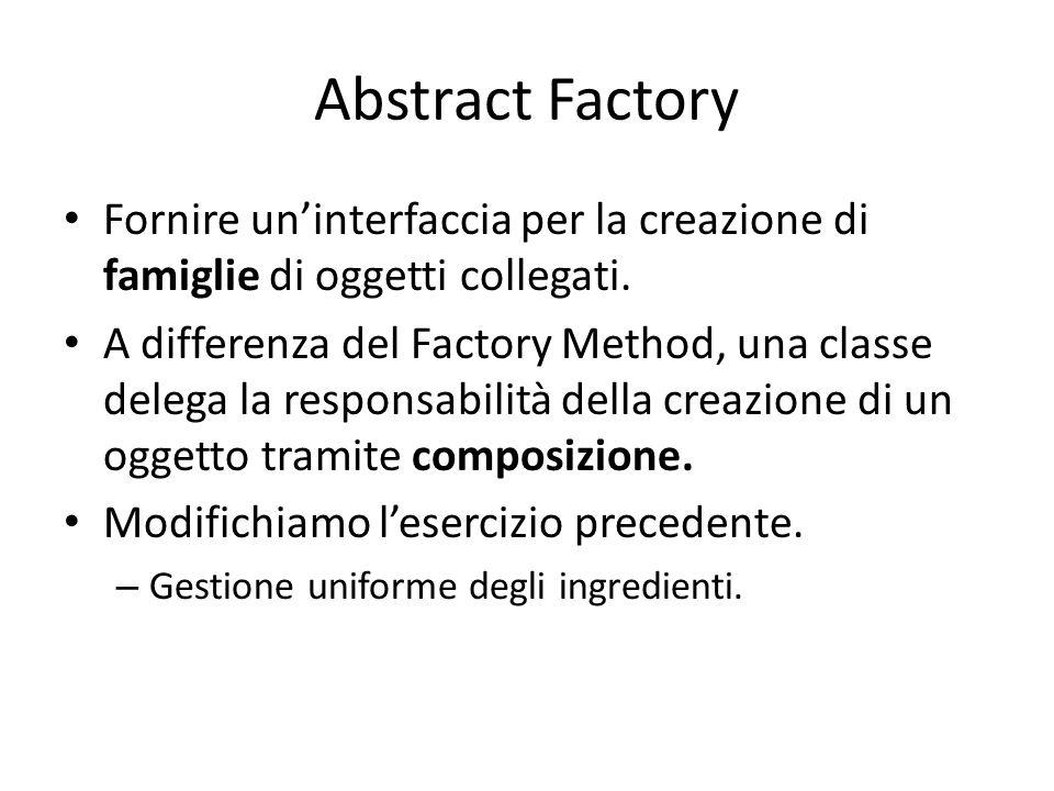 Abstract Factory Fornire un'interfaccia per la creazione di famiglie di oggetti collegati. A differenza del Factory Method, una classe delega la respo