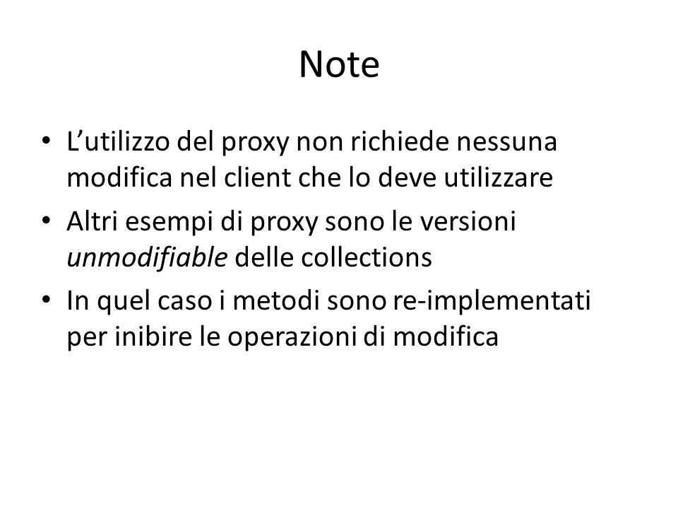 Note L'utilizzo del proxy non richiede nessuna modifica nel client che lo deve utilizzare Altri esempi di proxy sono le versioni unmodifiable delle co
