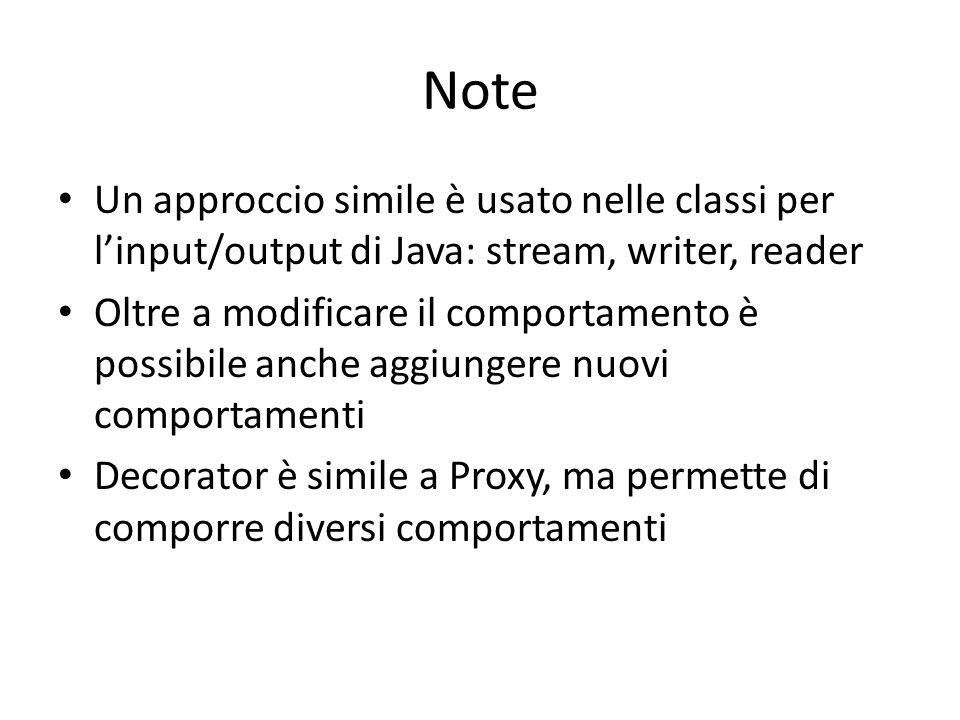 Note Un approccio simile è usato nelle classi per l'input/output di Java: stream, writer, reader Oltre a modificare il comportamento è possibile anc