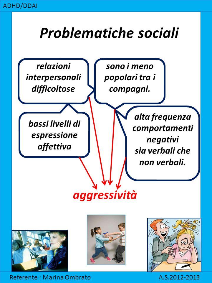 Problematiche sociali ADHD/DDAI Referente : Marina Ombrato A.S.2012-2013 relazioni interpersonali difficoltose sono i meno popolari tra i compagni. ba