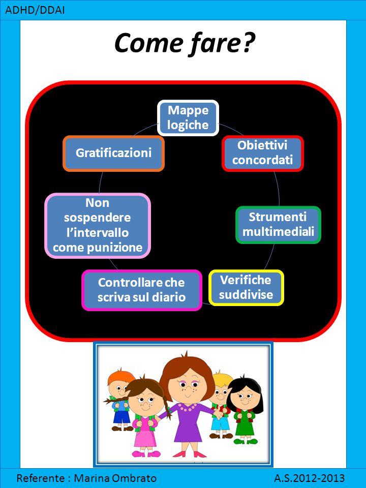 Come fare? ADHD/DDAI Referente : Marina Ombrato A.S.2012-2013 Mappe logiche Obiettivi concordati Strumenti multimediali Verifiche suddivise Controllar