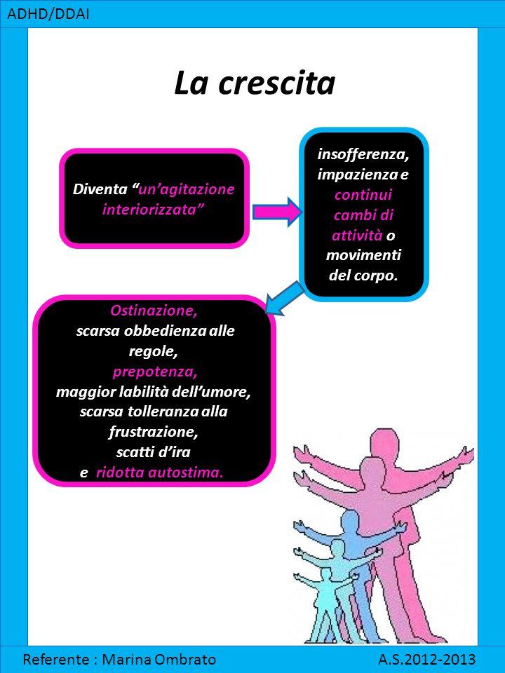 """ADHD/DDAI Referente : Marina Ombrato A.S.2012-2013 La crescita Diventa """"un'agitazione interiorizzata"""" insofferenza, impazienza e continui cambi di att"""