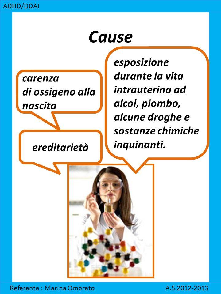 Cause ADHD/DDAI Referente : Marina Ombrato A.S.2012-2013 carenza di ossigeno alla nascita ereditarietà esposizione durante la vita intrauterina ad alc
