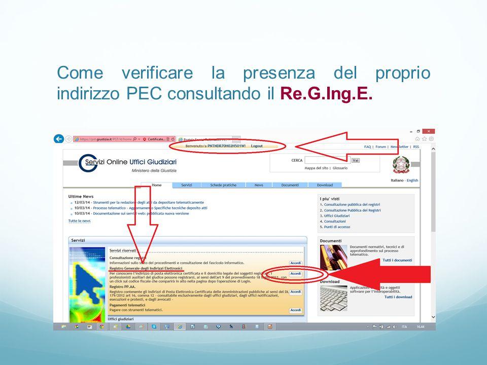 Come verificare la presenza del proprio indirizzo PEC consultando il Re.G.Ing.E.