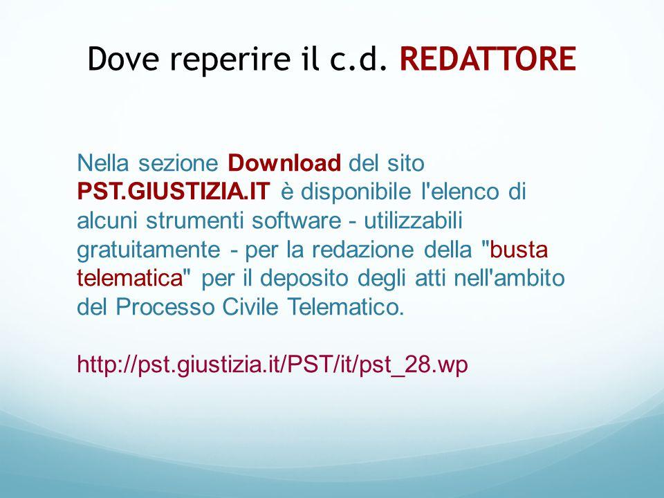 Nella sezione Download del sito PST.GIUSTIZIA.IT è disponibile l'elenco di alcuni strumenti software - utilizzabili gratuitamente - per la redazione d
