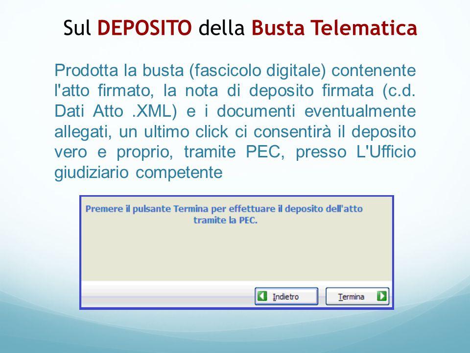 Prodotta la busta (fascicolo digitale) contenente l'atto firmato, la nota di deposito firmata (c.d. Dati Atto.XML) e i documenti eventualmente allegat