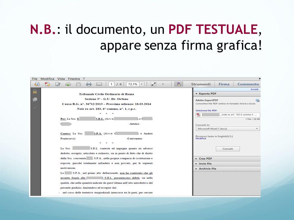 N.B.: il documento, un PDF TESTUALE, appare senza firma grafica!
