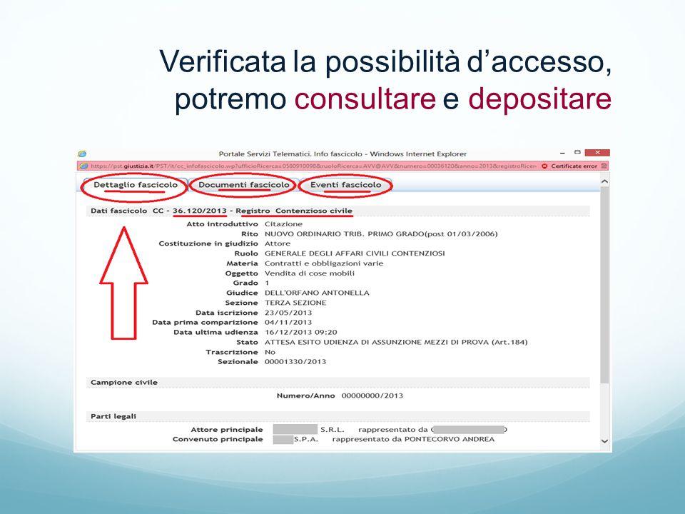 Verificata la possibilità d'accesso, potremo consultare e depositare