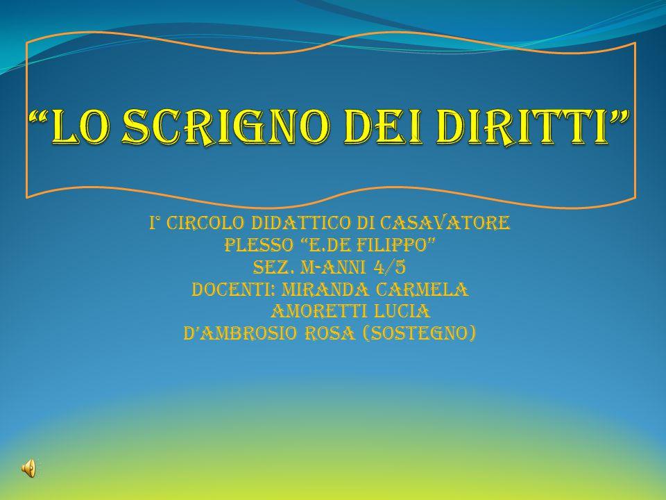 """i° CIRCOLO DIDATTICO DI CASAVATORE PLESSO """"e.DE FILIPPO"""" SEZ. M-ANNI 4/5 DOCENTI: MIRANDA CARMELA AMORETTI LUCIA D'AMBROSIO ROSA (SOSTEGNO)"""