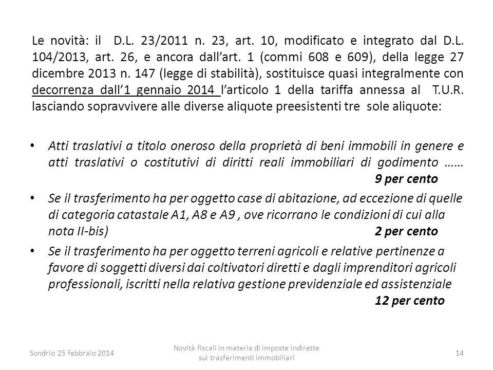 Le novità: il D.L. 23/2011 n. 23, art. 10, modificato e integrato dal D.L. 104/2013, art. 26, e ancora dall'art. 1 (commi 608 e 609), della legge 27 d