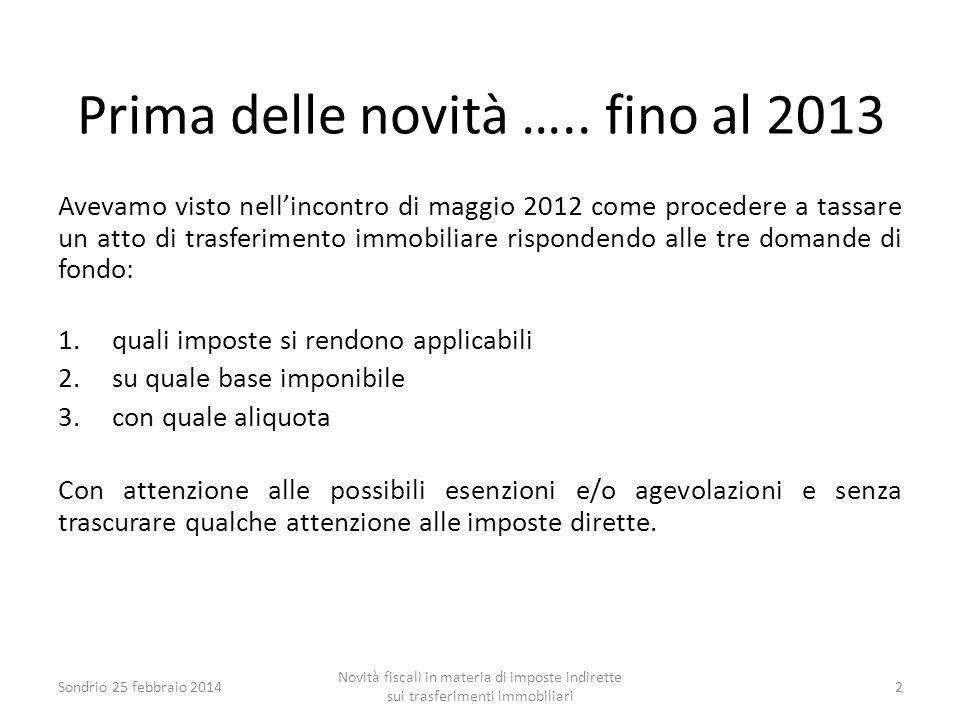 Prima delle novità ….. fino al 2013 Avevamo visto nell'incontro di maggio 2012 come procedere a tassare un atto di trasferimento immobiliare risponden