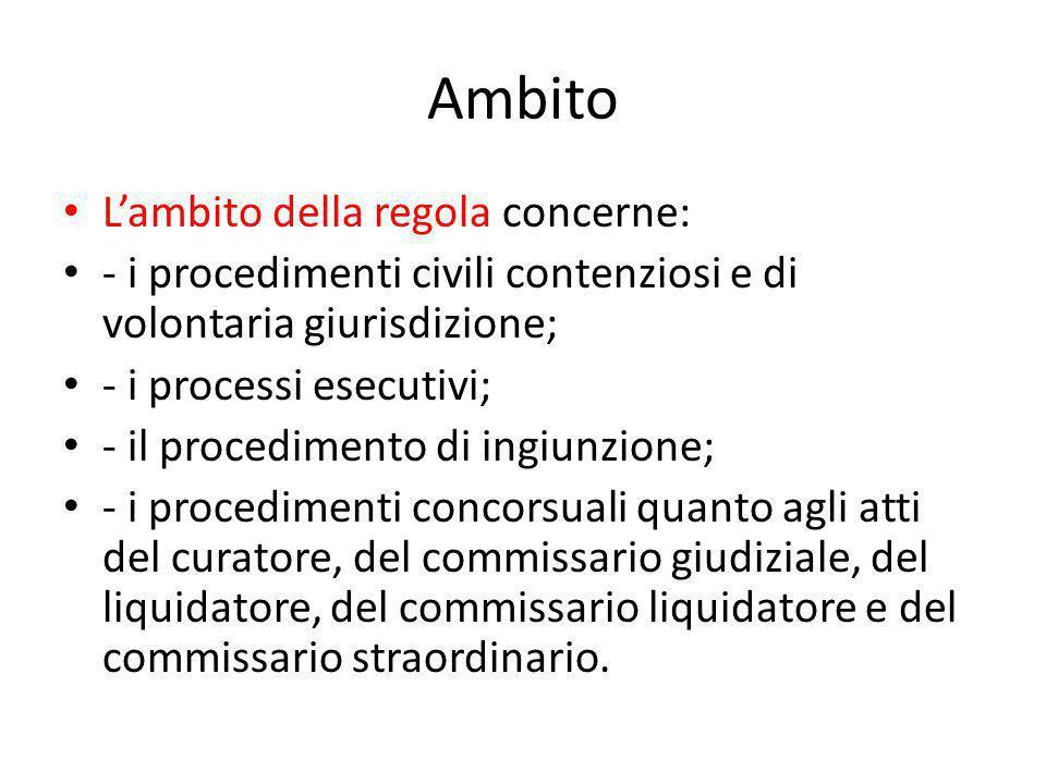 Ambito L'ambito della regola concerne: - i procedimenti civili contenziosi e di volontaria giurisdizione; - i processi esecutivi; - il procedimento di