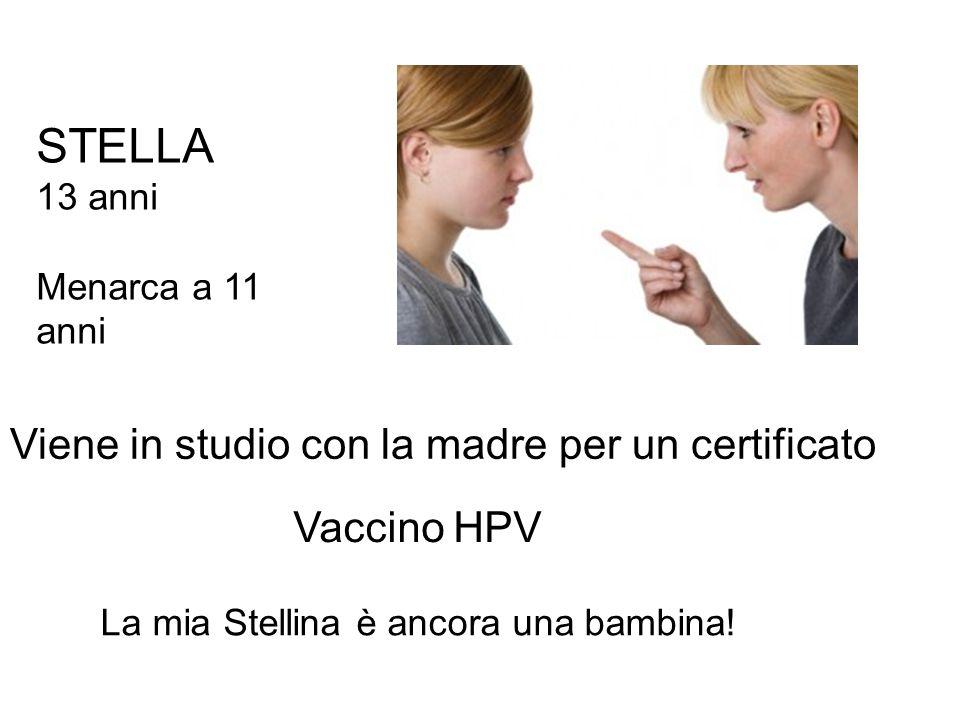 STELLA 13 anni Menarca a 11 anni Viene in studio con la madre per un certificato Vaccino HPV La mia Stellina è ancora una bambina!