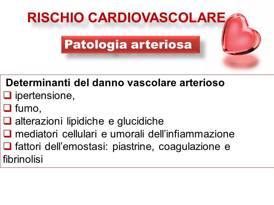 Determinanti del danno vascolare arterioso  ipertensione,  fumo,  alterazioni lipidiche e glucidiche  mediatori cellulari e umorali dell'infiammazione  fattori dell'emostasi: piastrine, coagulazione e fibrinolisi RISCHIO CARDIOVASCOLARE Patologia arteriosa