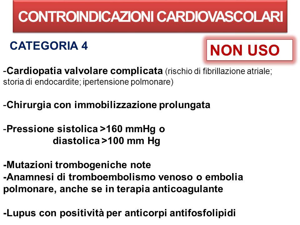 CONTROINDICAZIONI CARDIOVASCOLARI CATEGORIA 4 -Cardiopatia valvolare complicata (rischio di fibrillazione atriale; storia di endocardite; ipertensione polmonare) -Chirurgia con immobilizzazione prolungata -Pressione sistolica >160 mmHg o diastolica >100 mm Hg -Mutazioni trombogeniche note -Anamnesi di tromboembolismo venoso o embolia polmonare, anche se in terapia anticoagulante -Lupus con positività per anticorpi antifosfolipidi NON USO