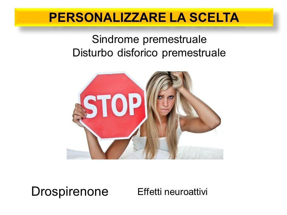 PERSONALIZZARE LA SCELTA Sindrome premestruale Disturbo disforico premestruale Effetti neuroattivi Drospirenone