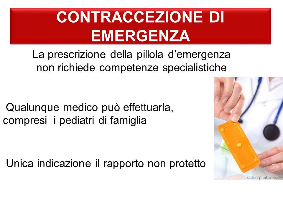 CONTRACCEZIONE DI EMERGENZA La prescrizione della pillola d'emergenza non richiede competenze specialistiche Qualunque medico può effettuarla, compresi i pediatri di famiglia Unica indicazione il rapporto non protetto