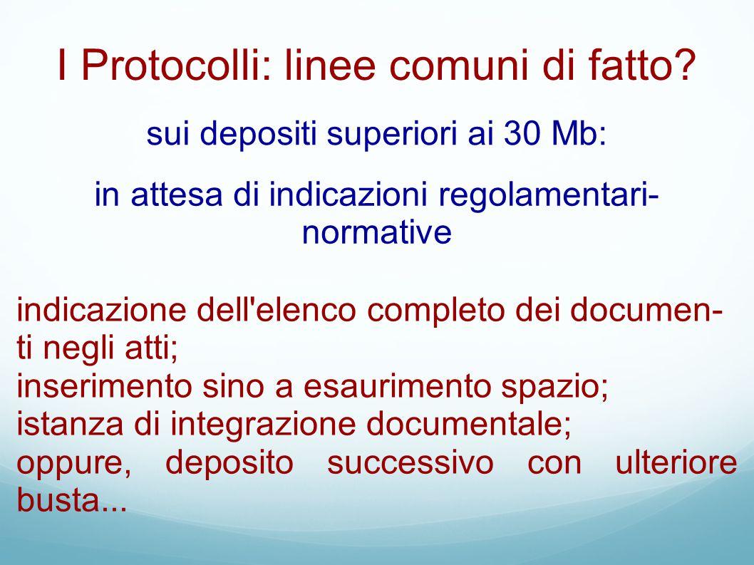 I Protocolli: linee comuni di fatto? sui depositi superiori ai 30 Mb: in attesa di indicazioni regolamentari- normative indicazione dell'elenco comple