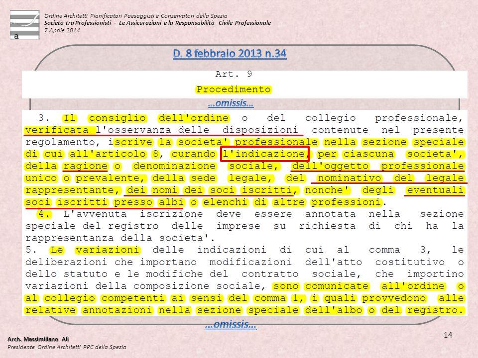 Arch. Massimiliano Alì Presidente Ordine Architetti PPC della Spezia 14 Ordine Architetti Pianificatori Paesaggisti e Conservatori della Spezia Societ
