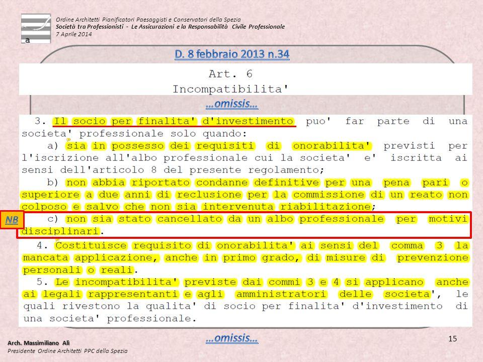 Arch. Massimiliano Alì Presidente Ordine Architetti PPC della Spezia 15 Ordine Architetti Pianificatori Paesaggisti e Conservatori della Spezia Societ