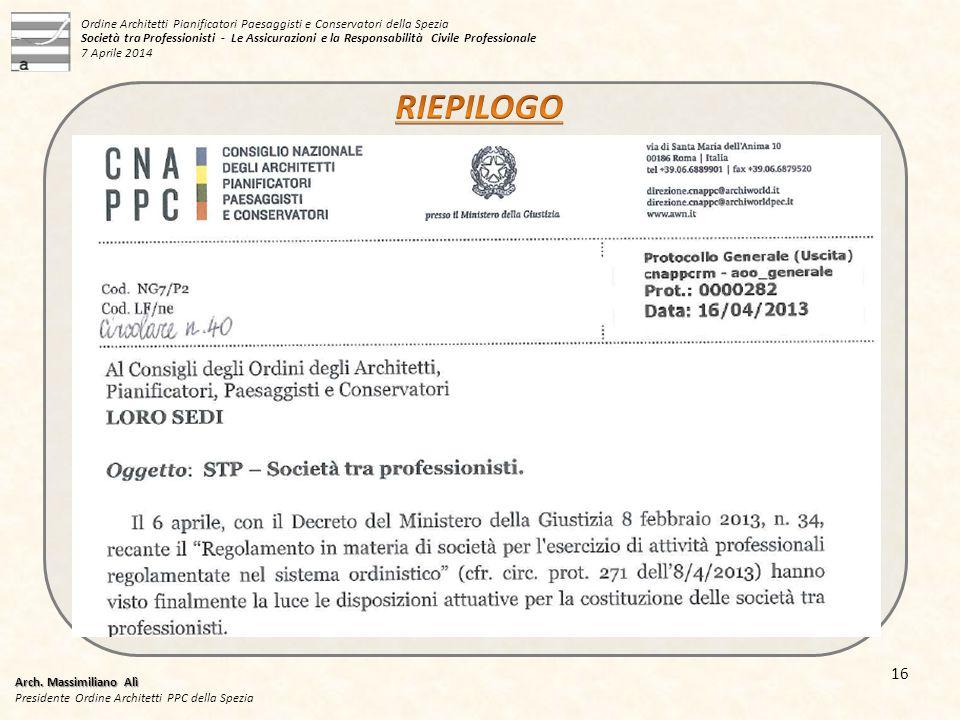Arch. Massimiliano Alì Presidente Ordine Architetti PPC della Spezia 16 Ordine Architetti Pianificatori Paesaggisti e Conservatori della Spezia Societ