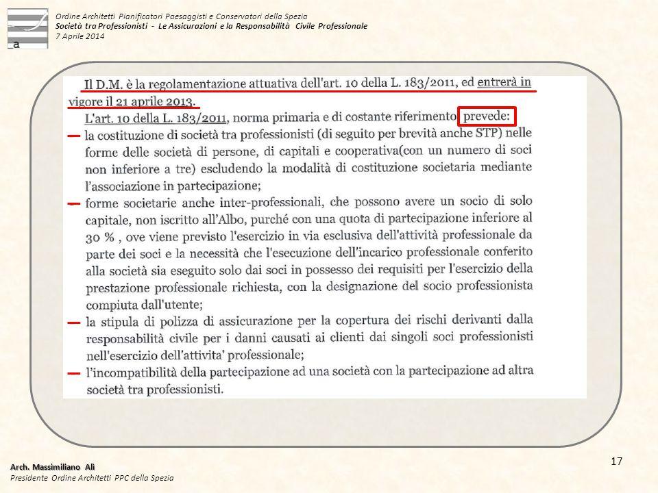 Arch. Massimiliano Alì Presidente Ordine Architetti PPC della Spezia 17 Ordine Architetti Pianificatori Paesaggisti e Conservatori della Spezia Societ