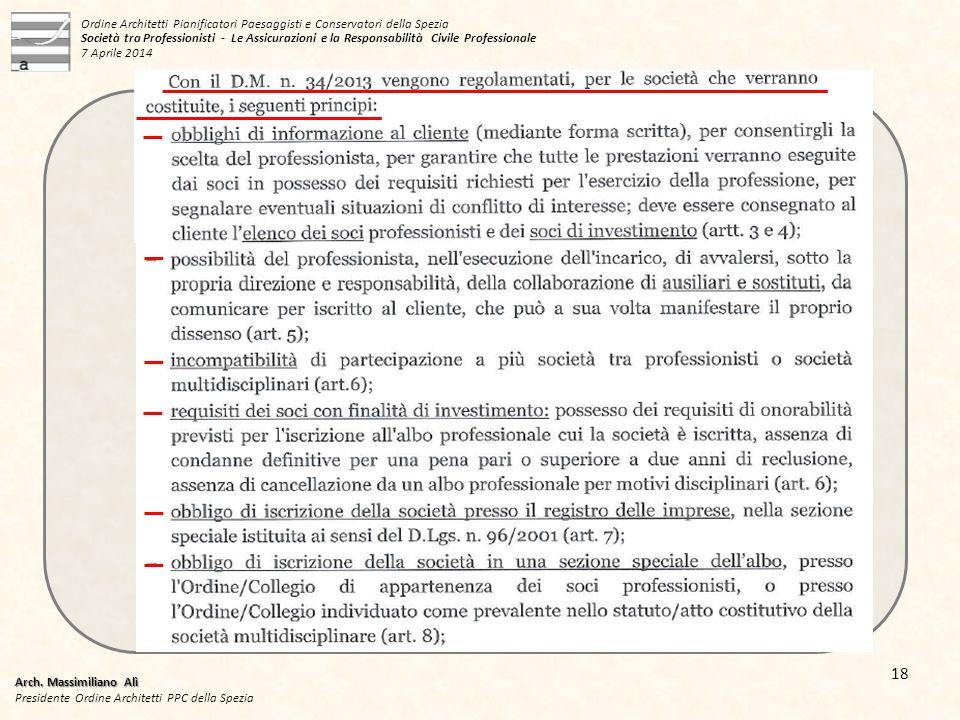 Arch. Massimiliano Alì Presidente Ordine Architetti PPC della Spezia 18 Ordine Architetti Pianificatori Paesaggisti e Conservatori della Spezia Societ
