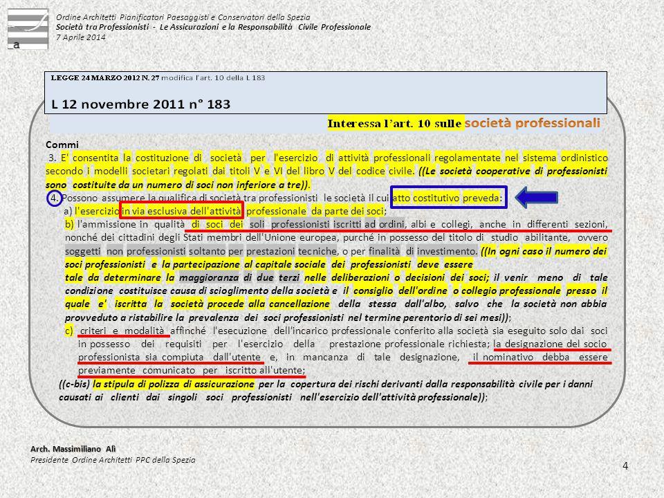 d) le modalità di esclusione dalla società del socio che sia stato cancellato dal rispettivo albo con provvedimento definitivo.