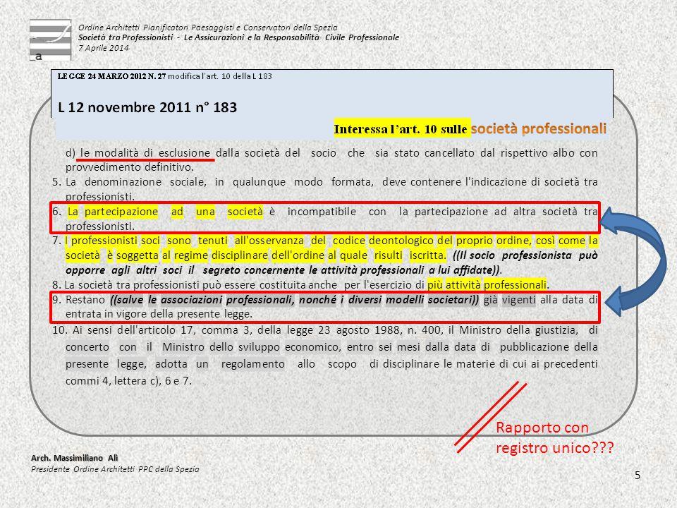 d) le modalità di esclusione dalla società del socio che sia stato cancellato dal rispettivo albo con provvedimento definitivo. 5. La denominazione so