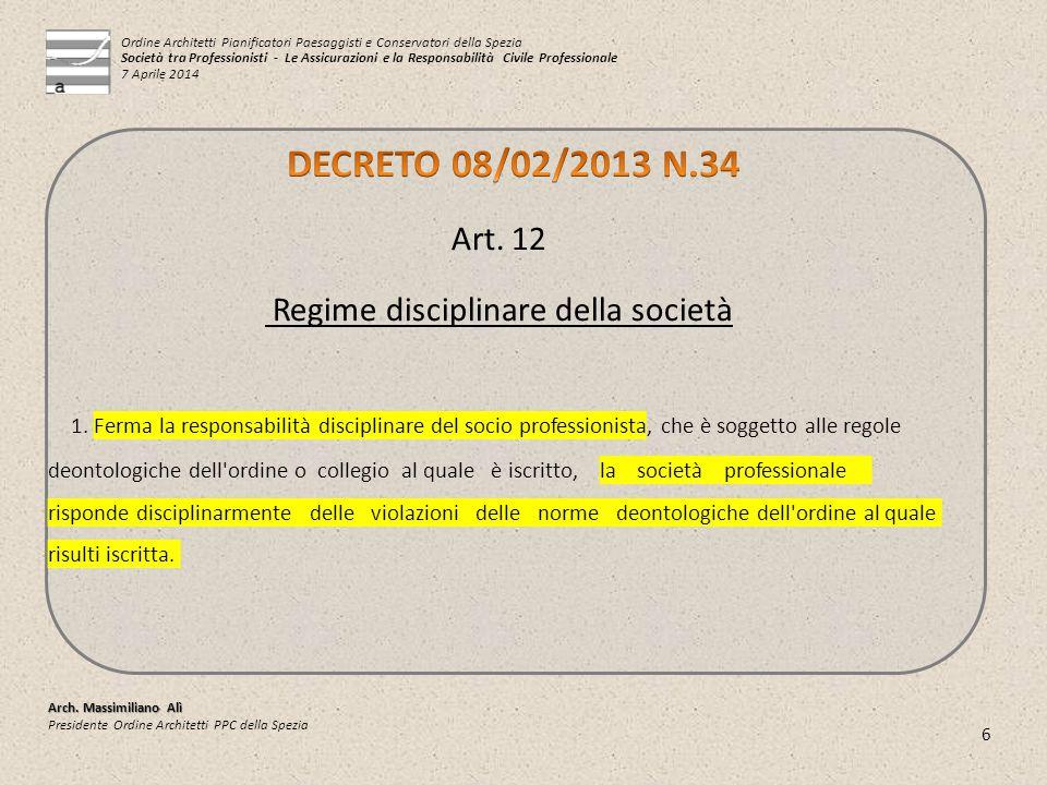 6 Arch. Massimiliano Alì Presidente Ordine Architetti PPC della Spezia Art. 12 Regime disciplinare della società 1. Ferma la responsabilità disciplina