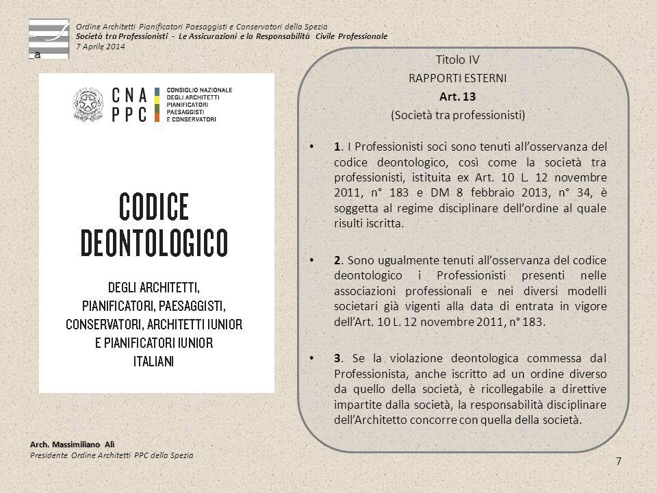 Titolo IV RAPPORTI ESTERNI Art. 13 (Società tra professionisti) 1. I Professionisti soci sono tenuti all'osservanza del codice deontologico, così come