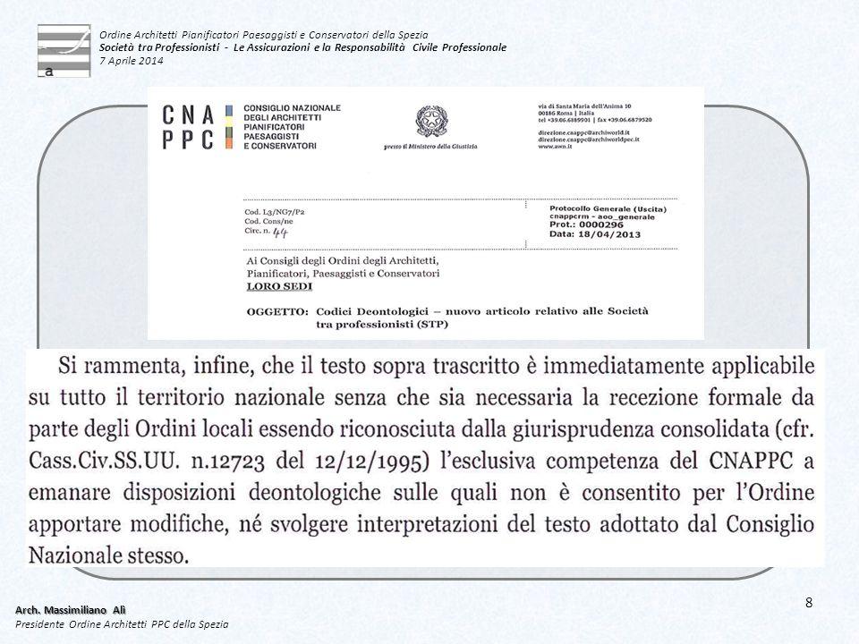 8 Arch. Massimiliano Alì Presidente Ordine Architetti PPC della Spezia Ordine Architetti Pianificatori Paesaggisti e Conservatori della Spezia Società