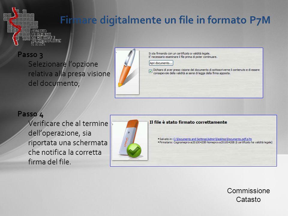 Firmare digitalmente un file in formato P7M Passo 3 Selezionare l'opzione relativa alla presa visione del documento; Passo 4 Verificare che al termine