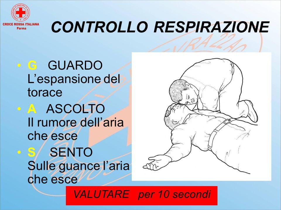 CONTROLLO RESPIRAZIONE G GUARDO L'espansione del torace A ASCOLTO Il rumore dell'aria che esce S SENTO Sulle guance l'aria che esce VALUTARE per 10 secondi