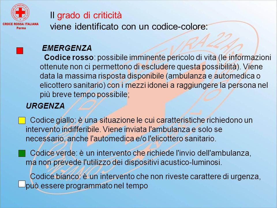 Il grado di criticità viene identificato con un codice-colore: EMERGENZA Codice rosso: possibile imminente pericolo di vita (le informazioni ottenute non ci permettono di escludere questa possibilità).