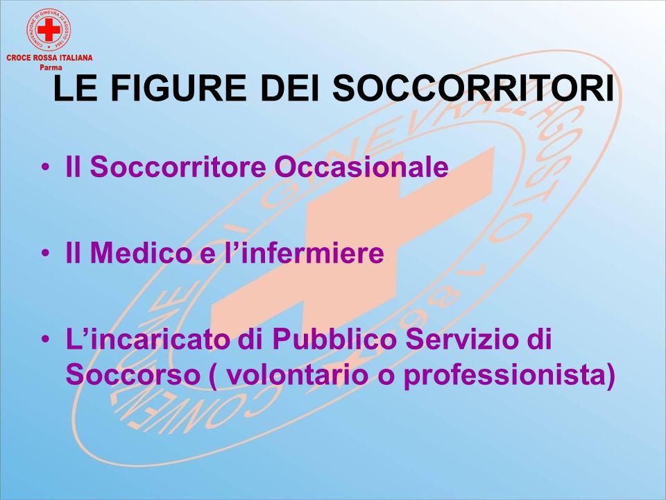 LE FIGURE DEI SOCCORRITORI Il Soccorritore Occasionale Il Medico e l'infermiere L'incaricato di Pubblico Servizio di Soccorso ( volontario o professionista)