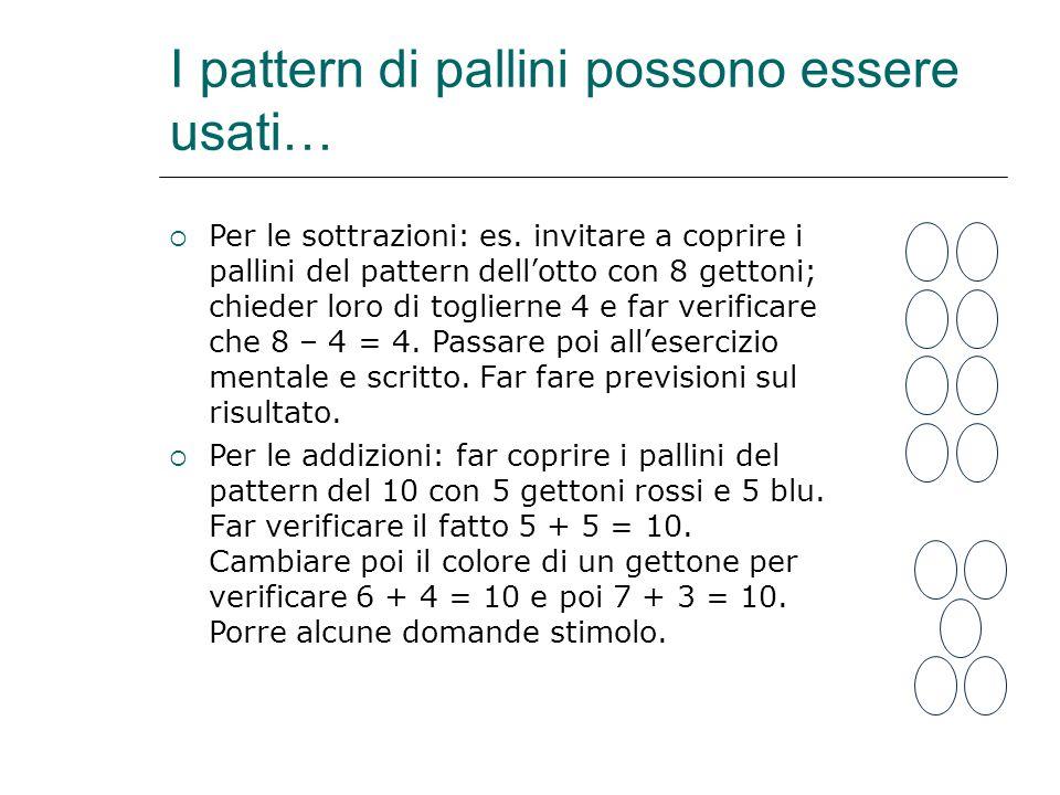 I pattern di pallini possono essere usati…  Per le sottrazioni: es. invitare a coprire i pallini del pattern dell'otto con 8 gettoni; chieder loro di
