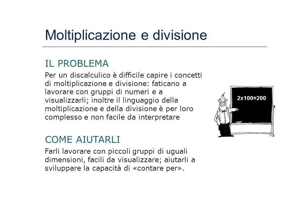 Moltiplicazione e divisione IL PROBLEMA Per un discalculico è difficile capire i concetti di moltiplicazione e divisione: faticano a lavorare con grup
