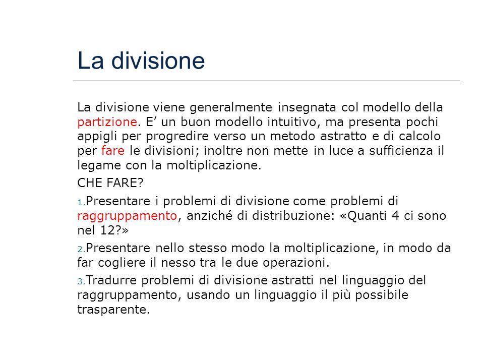 La divisione La divisione viene generalmente insegnata col modello della partizione. E' un buon modello intuitivo, ma presenta pochi appigli per progr