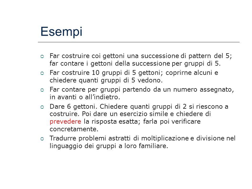 Esempi  Far costruire coi gettoni una successione di pattern del 5; far contare i gettoni della successione per gruppi di 5.  Far costruire 10 grupp